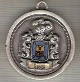 C479 Medalie militara? heraldica interesanta -Saona -Spania(Prohesa, Spain) -mai 1988 -marime 41x46 mm, gr. aprox. 37 gr.-starea care se vede