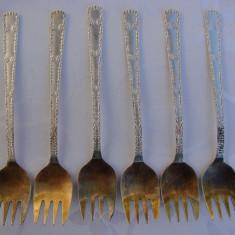 Set veritabil de sase furculite rusesti placate cu argint marca Kolchug-Mizar, Tacamuri