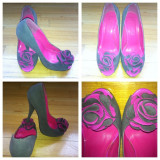 Pantofi fancy - Pantof dama, Culoare: Gri, Marime: 36, Gri