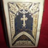BIBLIE GERMANA CU INTARSIE DE OS, ALAMA, ARGINTATA ALAMA