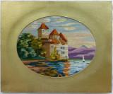 Goblen foarte vechi cu Castel pe malul marii