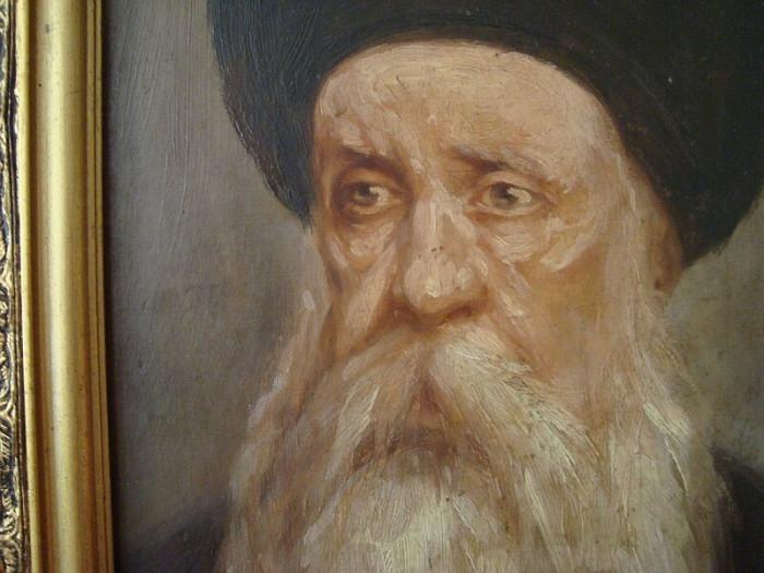 Cap de evreu, tablou vechi ulei pe panza 30x40, semnat, oferta deosebita