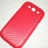 Husa Galaxy S3 Imitatie Carbon 3D Rosu