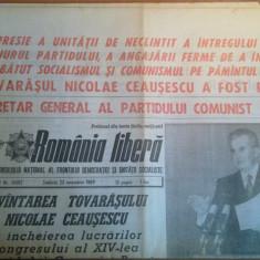 Ziarul romania libera 25 noiembrie 1989-ceausescu reales secretar general PCR