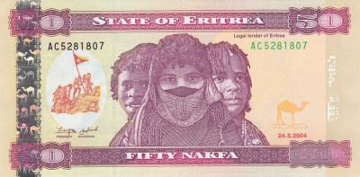 Bancnota Eritrea 50 Nafka 2004 - P7 UNC foto