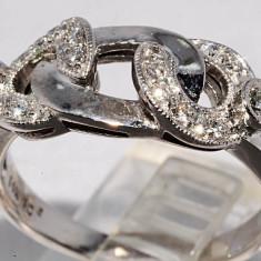 Inel aur 14k cu diamante. - Inel aur alb, 46 - 56