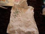 Tricou cu gluga pentru fetite, marca Zara Girls, marimea 9-11 ani, REDUS ACUM!, Alb, Fete