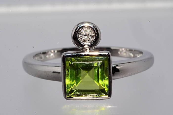 Inel aur 14k cu peridot si diamante (produse noi in stoc) foto mare