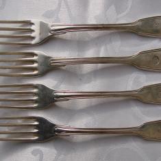Patru furculite mari cu monograma - placate cu argint, Tacamuri