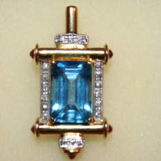 MEDALION AUR 18K cu 18 diamante si 6 rubine, model unicat - Pandantiv aur