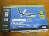 Vand placa wireless pe PCI, profesionala, Linksys WMP54G, cu garantie si factura!