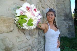 vand rochie de mireasa din dantela cu semitrena