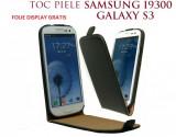 Husa Eleganta TOC PIELE  FLIP  NEGRU Samsung Galaxy S3 i9300 + Folie Protectie Display GRATIS, Piele Ecologica