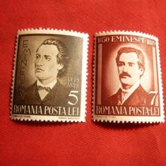 Serie 50 Ani de la Moartea lui Eminescu 1939, 2 val. - Timbre Romania