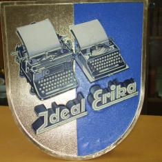 Reclama romaneasca carton anii 30 masina scris IDEAL ERIKA carton lucios fata carton mat cu suport si agatatoare spate