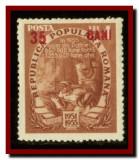 Romania 1952 - Planul Cincinal supratipar rosu 35 Bani / 4L nestampilat LP 320 a, Meserii
