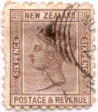 1882 NEW ZEALAND QUEEN VICTORIA 6p. braun Yt 64 = 6,40 euro SG 191