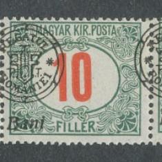RFL 1919 ROMANIA Emisiunea Oradea eroare Porto 10B sursarj deplasat streif de 5 - Timbre Romania