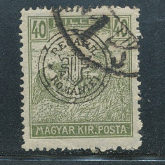 RFL 1919 ROMANIA Oradea eroare Seceratori 40B deplasat si cadru spart stampilat - Timbre Romania