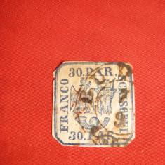Timbru 30 Parale Principatele Unite albastru, margini inguste, stampilat - Timbre Romania