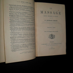 Le massage/Masajul, manual tehnic si practic, Georges Berne, 1914, in limba franceza