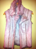 Cumpara ieftin SH: Vesta imitatie blana culoare roz, masura M, ca si noua, Poliester