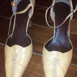 Pantofi piele Nine West, marimea 37 (6 1/2), usor folositi - Pantof dama, Culoare: Bej, Cu toc