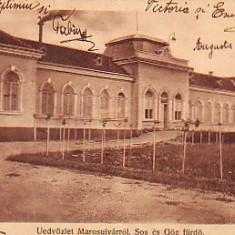 Ok-1212- Romania, Marosujvar, Uioara, c.p. circulata 1921: Baile sarate cu aburi, Fotografie, Ocna Mures