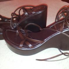 Sandale de la Aldo, Made in Italy, marimea 37, folosite o singura data. - Sandale dama, Culoare: Maro
