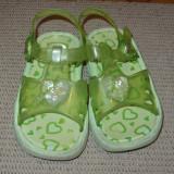 Sandale fetite plaja, marimea 25 - Sandale copii, Culoare: Verde, Fete, Cauciuc