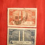 Serie- Monument Vimy-pt. canadieni -1936 Franta 2 val.stamp.