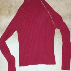 Pulover dama rosu de la Wet Seal, masura S/M, ca nou, Marime: M, Culoare: Burgundy, Bumbac