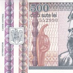 Bancnota Romania 500 Lei 1992 - P101b UNC (filigran: Brancusi din profil)