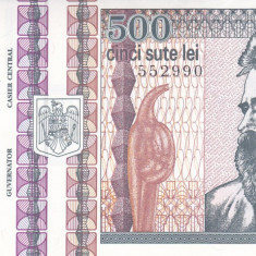 Bancnota Romania 500 Lei 1992 - P101b UNC (filigran: Brancusi din profil) - Bancnota romaneasca