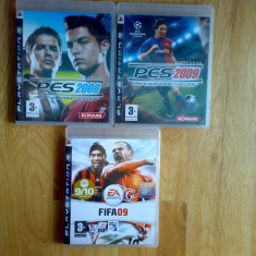 Vand 3 jocuri ps3 cu fotbal : PES 2008 , PES 2009 si FIFA 09 pentru Playstation3, Sporturi, 12+