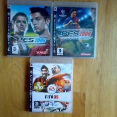 Vand 3 jocuri ps3 cu fotbal : PES 2008, PES 2009 si FIFA 09 pentru Playstation3, Sporturi, 12+