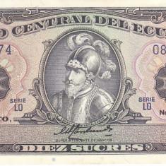 Bancnota Ecuador 10 Sucres 1988 - P121 UNC - bancnota america