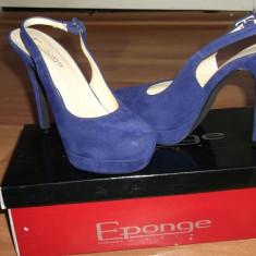 Pantofi Eponge cu toc si platforma - Pantof dama eponge, Culoare: Albastru, Marime: 37, Albastru