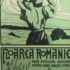3 - PARTITURA MUZICALA - FLOAREA ROMANIEI - MARE POTPOURRI NATIONAL - J. PASCHILL - EDITURA TINU I. ESANU - GRAFICA COPERTEI MINA BYCK ( 1900-1964)