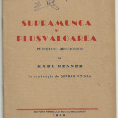 Karl Renner / SUPRAMUNCA SI PLUSVALOAREA - editie 1945 (Biblioteca Socialista)