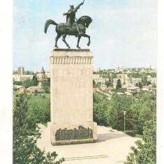 Carte postala(ilustrata)-SUCEAVA-Statuia lui Stefan cel Mare - Carte Postala Moldova dupa 1918, Necirculata, Printata