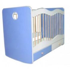 Patut domino personalizat - Patut lemn pentru bebelusi Bertoni, 120x60cm, Albastru