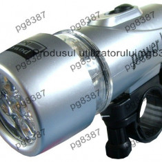 Lanterna cu suport de prindere, pt biciclete, 5 LED-uri-3375 - Accesoriu Bicicleta