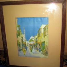 Acuarela cu piata araba veche pe spate cu reclama veche magazine - Reproduceri arta