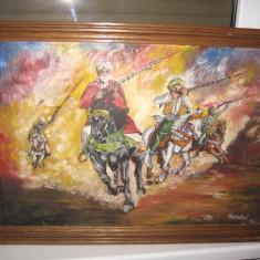 Tablou cu tema araba- Calareti in timpul luptei, semnat Marechal, ulei pe placaj - Pictor strain, Scene gen, Realism