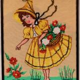 """Goblen """"Fetita la cules de flori"""" cusut manual"""