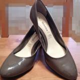 Pantofi lac gri YESSICA mas. 37 - Pantof dama