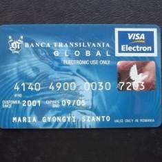 BANCA TRANSILVANIA - VISA ELECTRON - card rar pentru colectie ( NR 4444 ) - Card Bancar