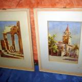 Tablouri acuarele pereche cu tema orientala, cladire veche a unui oras din orient si ruinele unui cladiri romane - Pictor roman