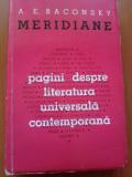 Meridiane. Pagini despre literatura universală contemportană.- A.E. Baconsky